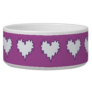 Curly Heart White on Purple Ceramic Pet Bowl