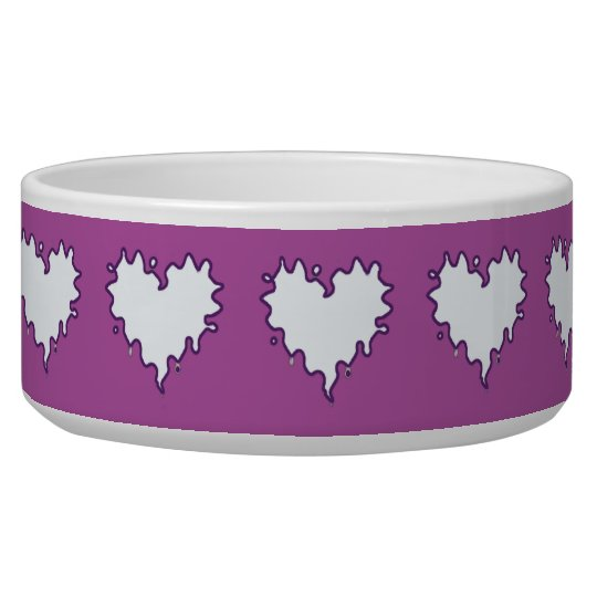 Curly Heart White on Purple Ceramic Pet Bowl