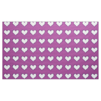 Curly Heart White on Purple Fabric