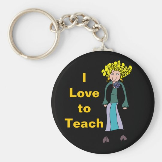 Curly Lady, I Love toTeach Key Chain