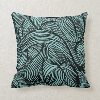 curly LINEs black on blue Throw Pillow