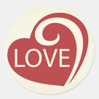 Curly Love Heart Classic Round Sticker