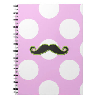 Curly Moustache, Polka Dots - Black Green Pink Notebooks
