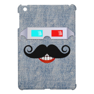 Curly Mustache, 3D Glasses and Faded Denim Pattern iPad Mini Cover