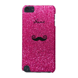 Curly mustache neon hot pink glitter iPod touch (5th generation) case