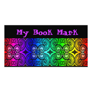 Curly N Rainbow Book Marker Photo Card Template