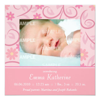 Curly Pink Floral Baby 5.25x5.25 Square Paper Invitation Card