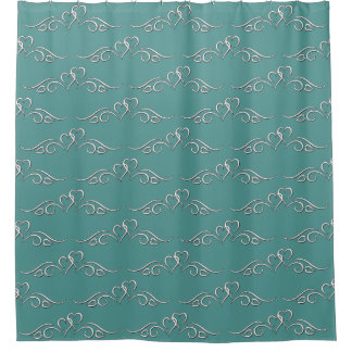 Curly Q's and Hearts Shower Curtain