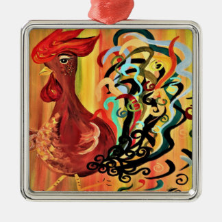 Curly Rooster Christmas Ornament