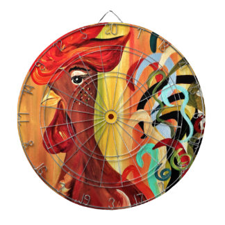 Curly Rooster Dartboard With Darts