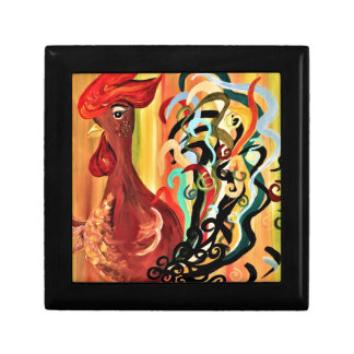 Curly Rooster Small Square Gift Box
