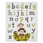 Curly Tails Monkey Alphabet Nursery Wall Art Print