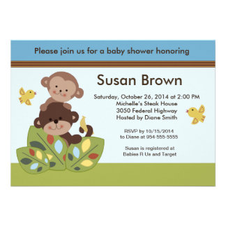 Curly Tails Monkey Baby Shower Invitation