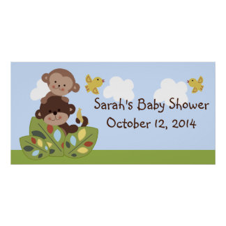 Curly Tails Monkey Baby Shower Poster/Banner Poster