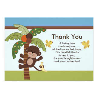 Curly Tails Monkey Baby Shower Thank You Card