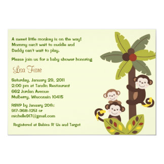 Curly Tails Monkey Jungle Baby Shower Invitations