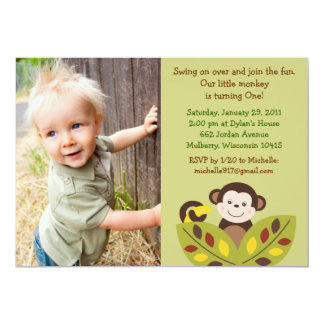 Curly Tails Monkey Jungle Birthday Invitations