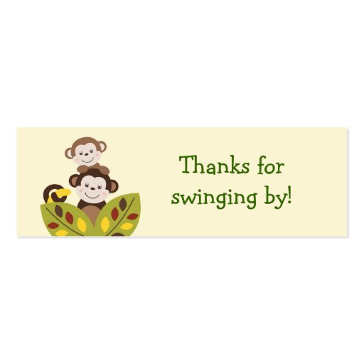 Curly Tails Monkey Jungle Favor Gift Tags Business Cards