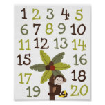 Curly Tails Monkey Number Nursery Wall Art Print