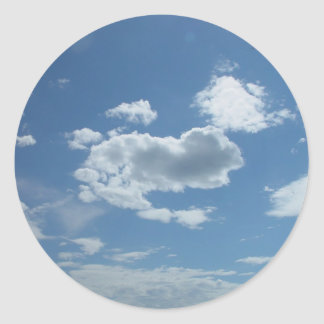 Currambine Skyscape With Scattered Clouds On Blue Round Sticker