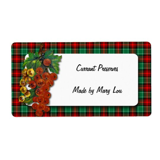 Currants Red Green Plaid Holiday Recipe Label Shipping Label