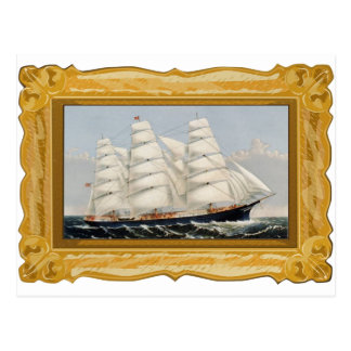 Currier & Ives  --Clipper ship postcard