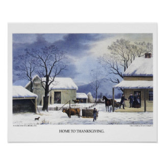 Currier & Ives Lithograph: Home to Thanksgiving Poster