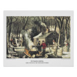 Currier & Ives Lithograph: Maple Sugaring Poster