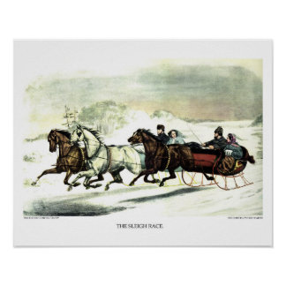 Currier & Ives Lithograph: The Sleigh Race Poster