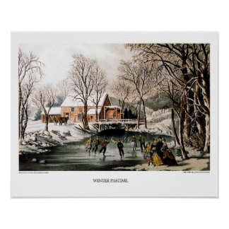 Currier & Ives Lithograph: Winter Pastime Poster