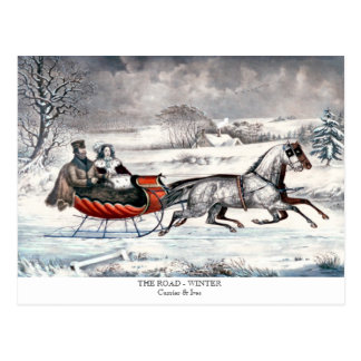 Currier & Ives - Postcard - THE ROAD - WINTER