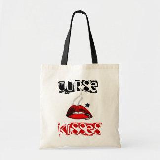 Curse & Kisses red lips tot bag