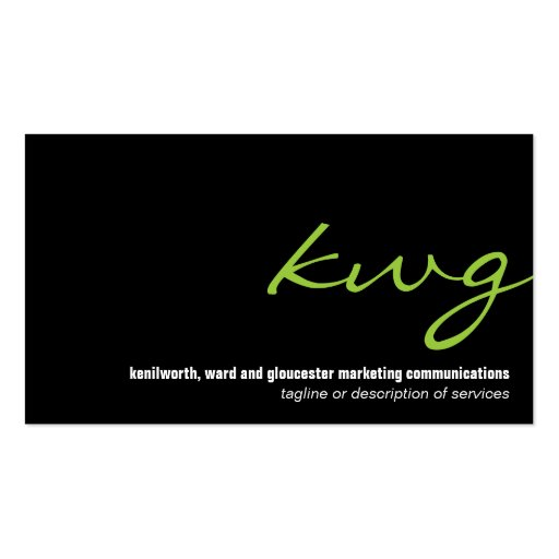 Cursive Lime Monogram Business Card