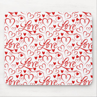 Cursive Love and Red Hearts Valentine's Day Mouse Pad