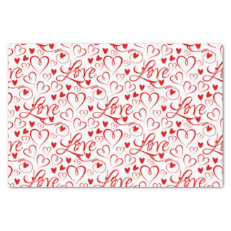 Cursive Love and Red Hearts Valentine's Day Tissue Paper