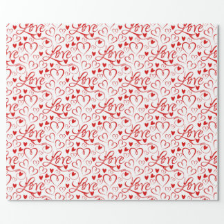 Cursive Love and Red Hearts Valentine's Day Wrapping Paper