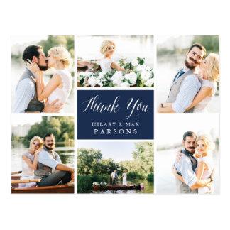 Cursive | Wedding Photo Collage Thank You Postcard