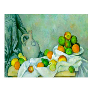 Curtain, Jug and Plate of Fruit Postcard