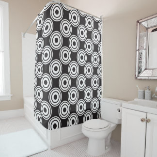 Curtain of Bath Black Hoops