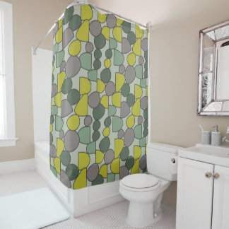 Curtain of Bath Green and Gray Stones