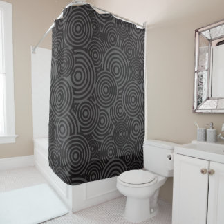 Curtain of Bath Hoops and Black Wheels and Gray