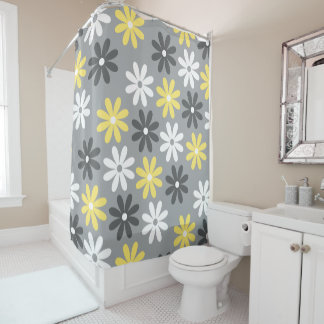 Curtain of Warm White and Gray Bath Floral