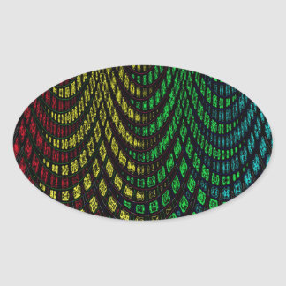 Curtains in abstract oval sticker