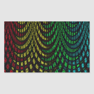 Curtains in abstract rectangular sticker