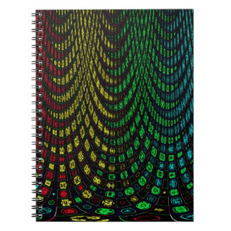 Curtains in abstract spiral notebook