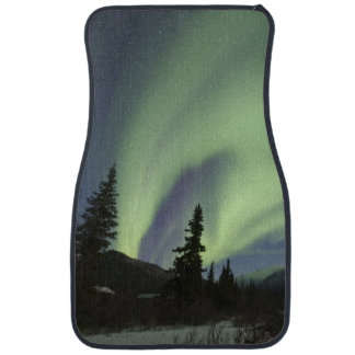 Curtains of green aurora borealis in the sky 2 car mat