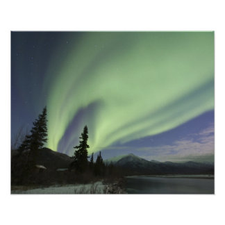 Curtains of green aurora borealis in the sky 2 poster