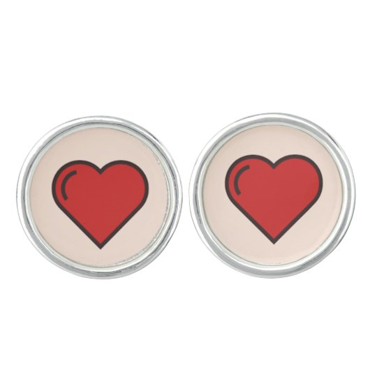 Curte red girly hearts Pair of Cufflinks