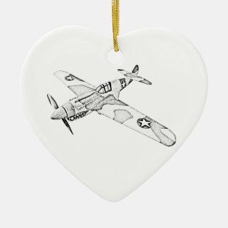 Curtiss P-40 Warhawk Aircraft Ceramic Heart Decoration