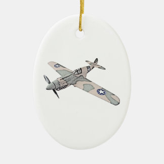 Curtiss P-40 Warhawk Aircraft Ceramic Oval Decoration